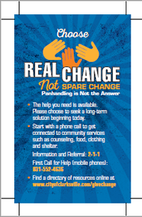 Choose Real Change not Spare Change booklet cover (PDF)